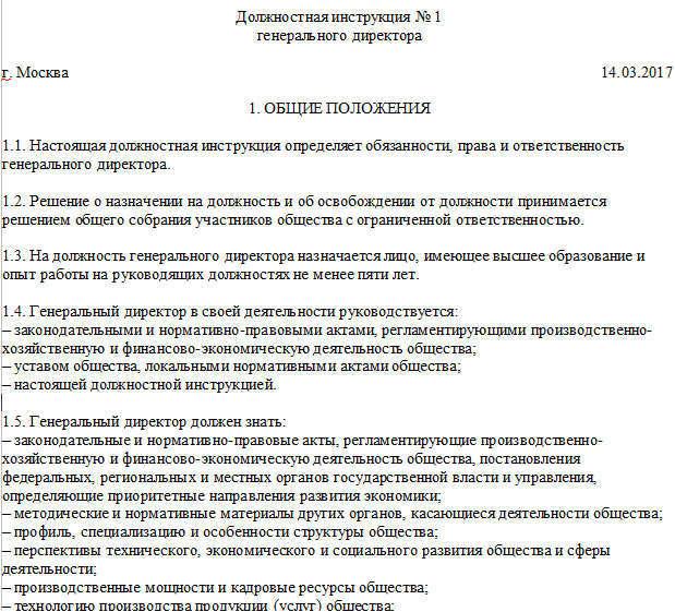 Образцы должностной инструкции директора ооо