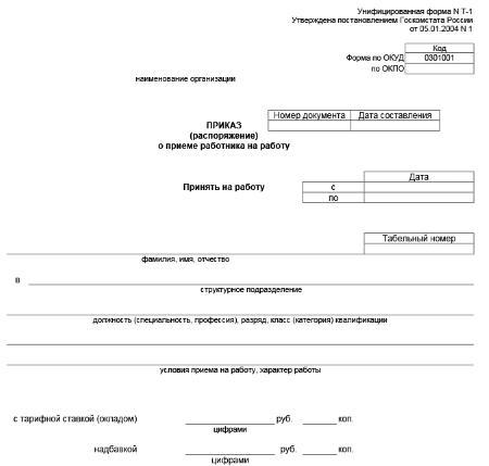 Как офрмить распоряжение о приема на работу нужных документов